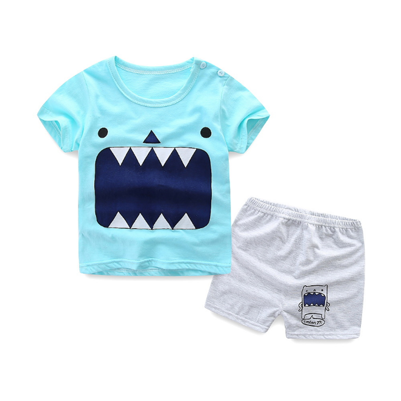 2018 New Summer Casual Children Sets Cartoon Print T-shirt+Shorts Baby Boys Girls Clothing Sets Kids Summer Sport Suit Sets