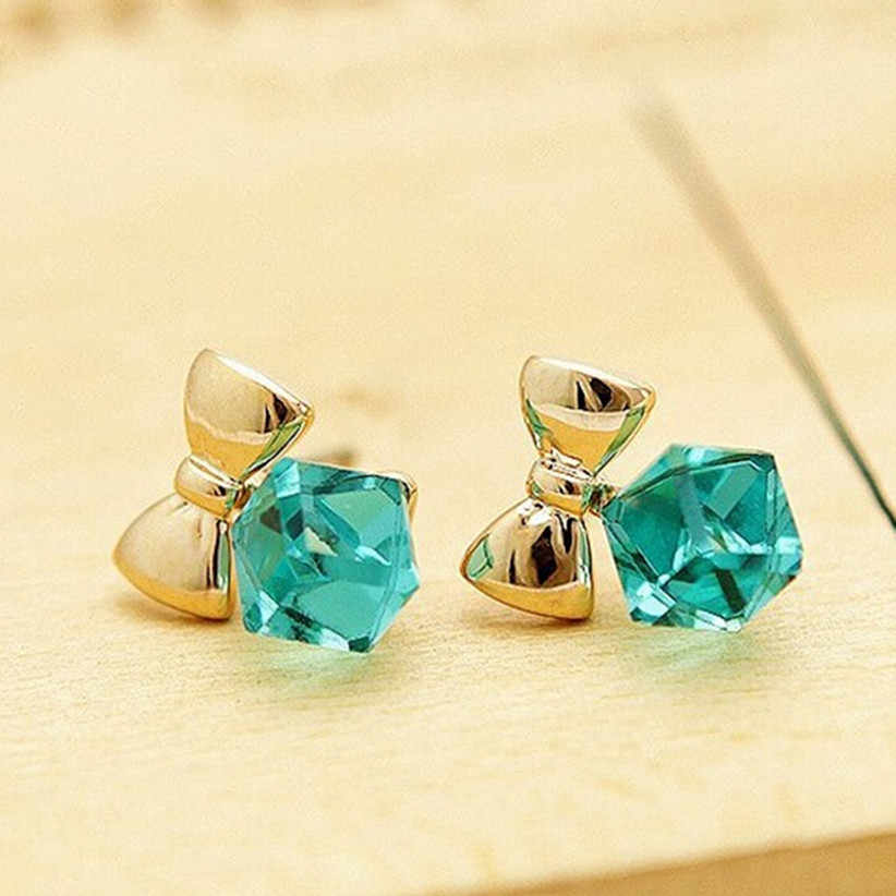 Fashion Exquisite Crystal Blue Water Cube Box Hot Bow Beautiful Earrings Jewelry Cube Type Female Earrings For Women 4ED200