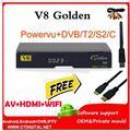 V8 de Oro Europa Cline DVB-S2 cccam Receptor de Satélite + 1 año + T2/C IPTV set top box Powervu Youtube v8 cam
