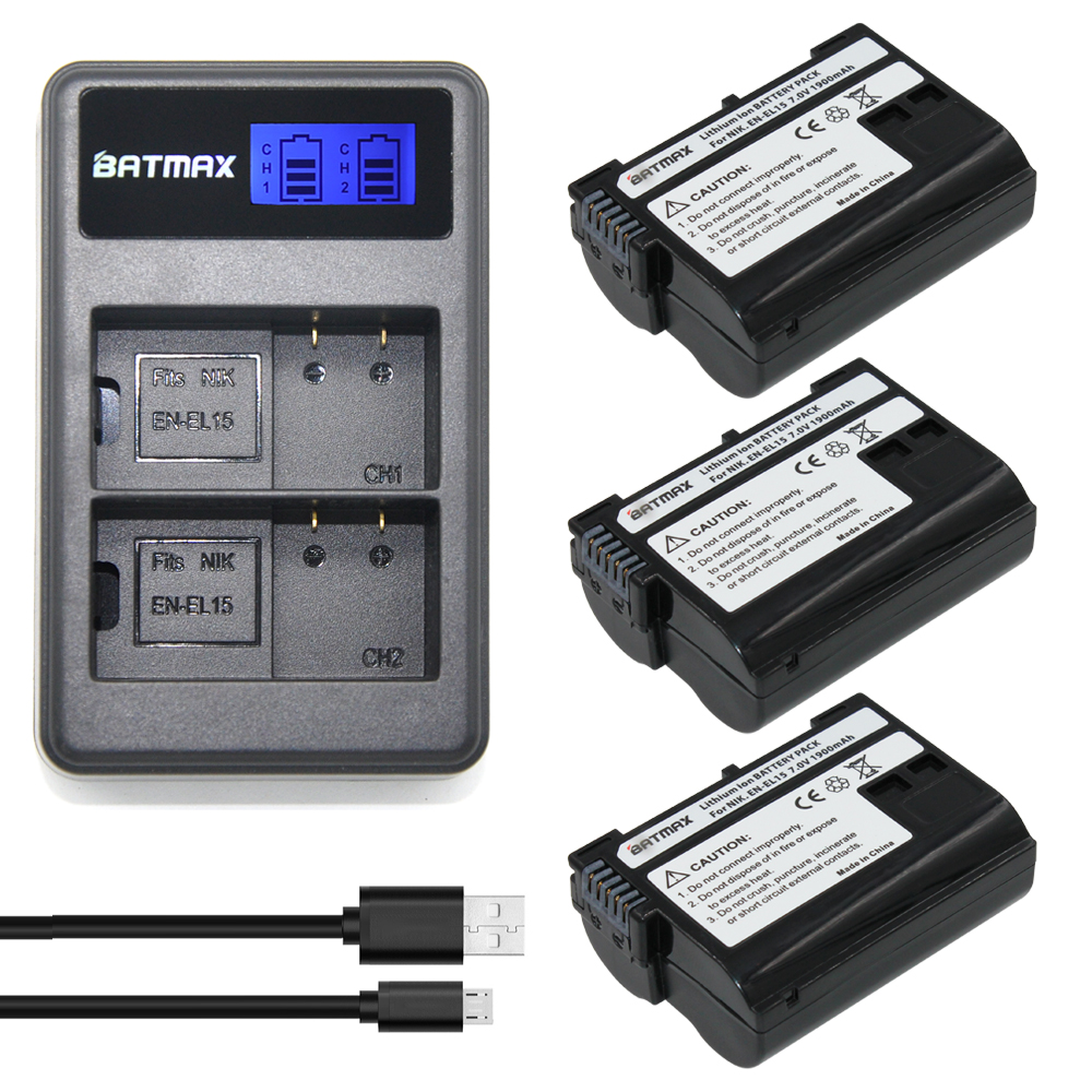 3Pcs EN EL15 ENEL15 EN-EL15 Battery + LCD Dual Charger for Nikon D500,D600,D610,D750,D7000,D7100,D7200,D800,D800E,D810,D810A v1 meike mk d800 vertical battery grip for nikon d800 d810 as mb d12 2 en el15 battery dual charger for en el15 battery