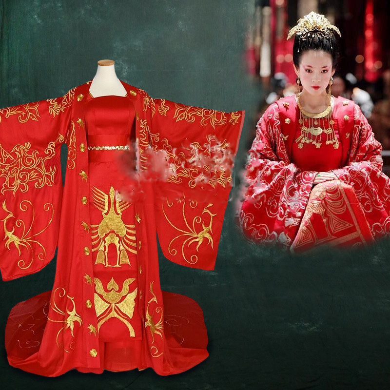 Movie The Banquet Actress Ziyi Zhang Golden Red Gorgeous Embroidery Phoenix Hanfu Long Tail Bride Wedding Costume Empress Hanfu