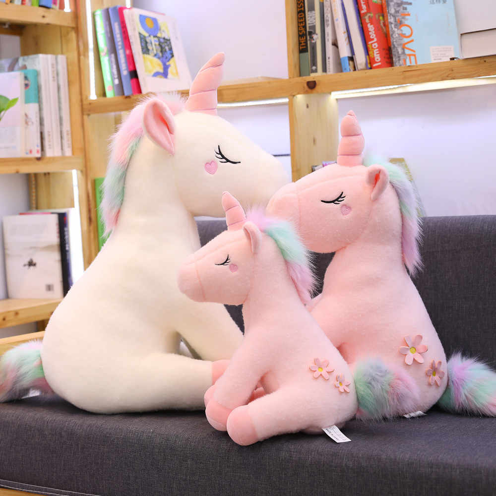 25-100CM Große Größe kawaii Einhorn Plüsch Spielzeug 3 Arten Stofftier Einhorn Pferd Puppe Weiche Kinder Hause decor Geschenke Kissen