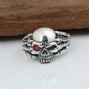 Image 2 - Echt 100% 925 Sterling Zilver Vintage Punk Poot Skull Ring Voor Mannen Mode Unieke Persoonlijkheid Skelet Sieraden