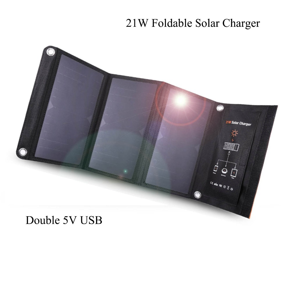 10pcs 21W Foldable Portable Solar Charger with Double USB Port High Efficiency Outdoor Solar Panel for Smartphones Tablets