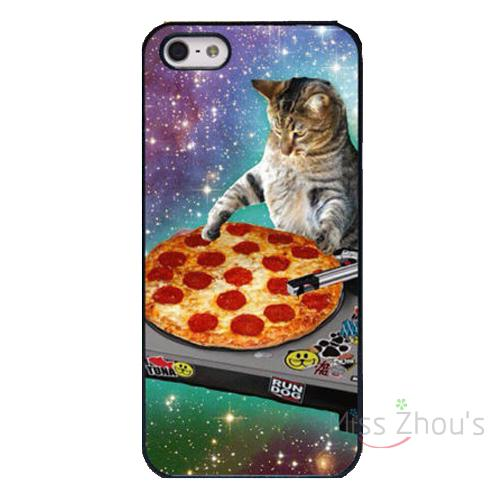For iphone 4/4s 5/5s 5c SE 6/6s 7 plus ipod touch 4/5/6 back cellphone cases cover DJ Pizza Cat Music Record Playing Console