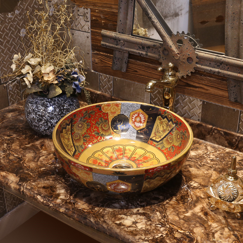 Porcelain bathroom vanity bathroom sink bowl countertop Ceramic wash basin bathroom sink round antique