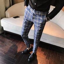 Мужские повседневные облегающие брюки клетчатые синие и серые