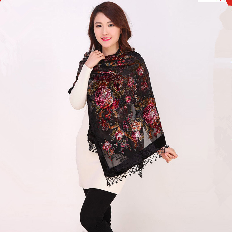 Black Chinese Female Velvet Silk Beaded Shawls Vintage Handmade Embroidery Scarves Scarf Long Fringe Muffler Peony