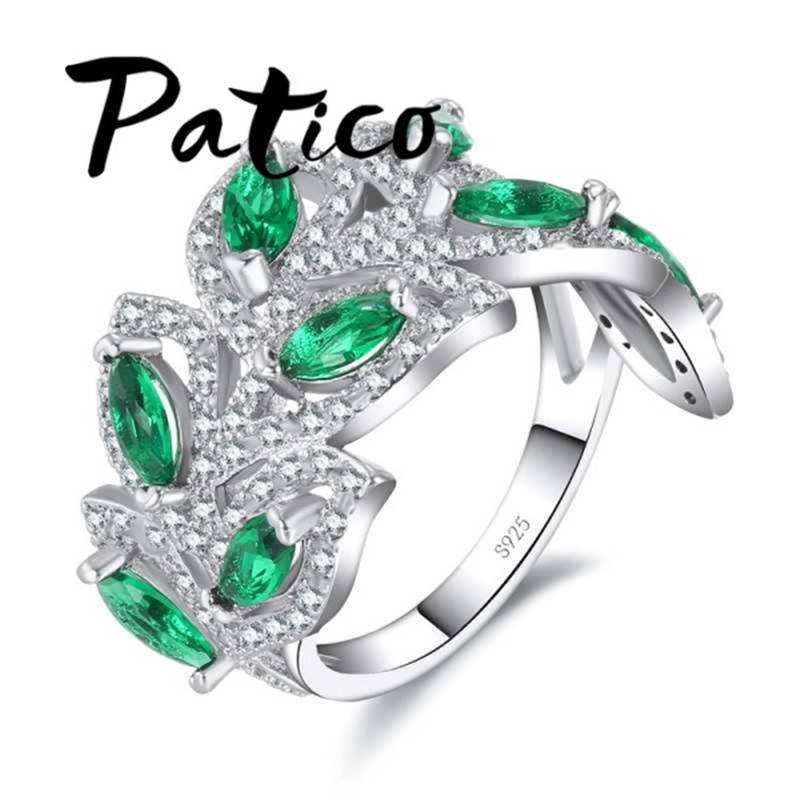 PATICO Vintage Big Rings For Women Antique 925 Sterling Silver Wedding Rings Green Leaf CZ Design Size 6 7 8 9 10 Finger Rings
