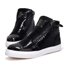 Mens Fashion Snake skin Grain Laarzen Rits Toevallige Outdoor High-Top Schoenen Man Metalen Neus Laarzen mannen Slip -op Party Rijden Boot(China)