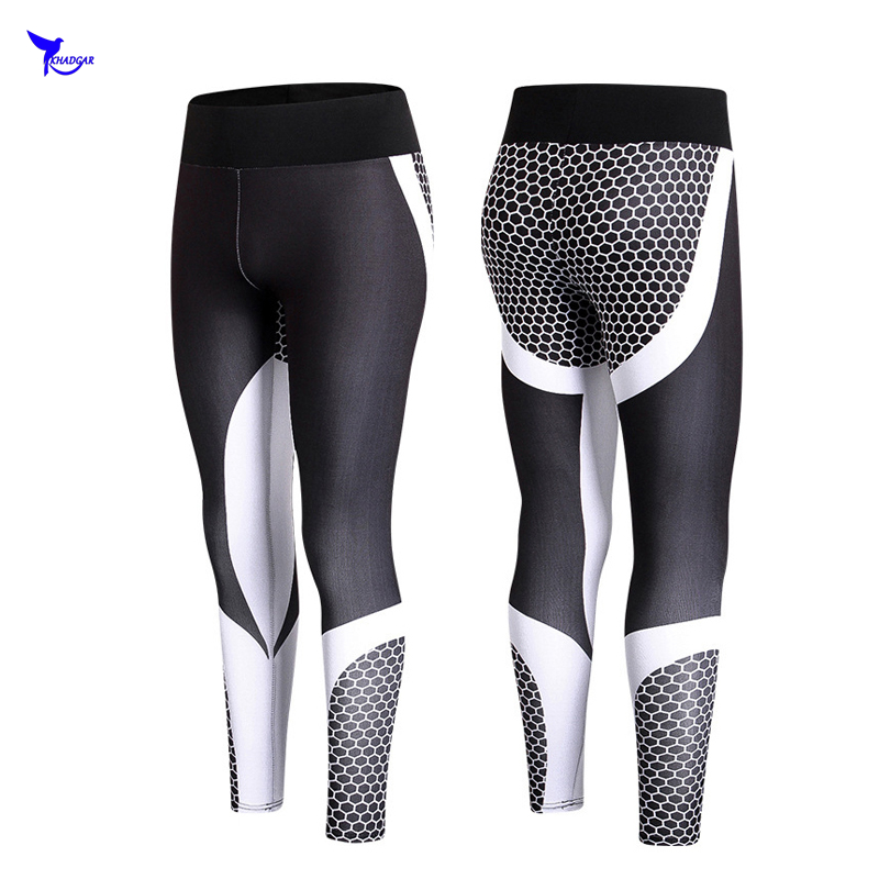 2018 Sexy Women Workout Leggings For Joggers Fitness High Waist Elastic Quick Dry Compression Pants Breathable Printed Trousers