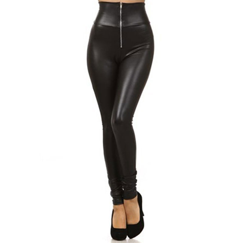 2018 New Women's Female Faux Leather Skinny Long Pencil Trousers High Waist Zipper Leggings Pants Black S/M/L/XL/XXL
