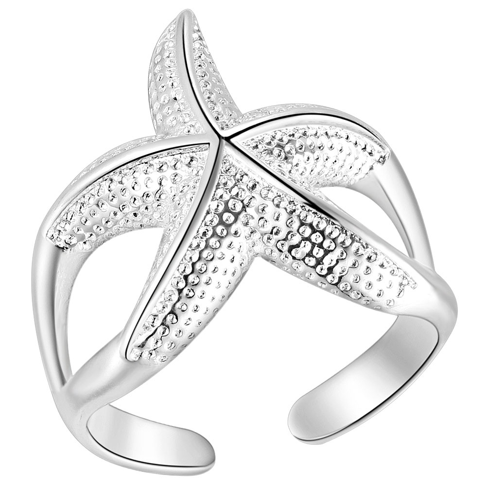 Ufooro New Year Valentine Ring Open Twinkle Nautical Beach Crystal Starfish  Opening Starfish Ring For Party