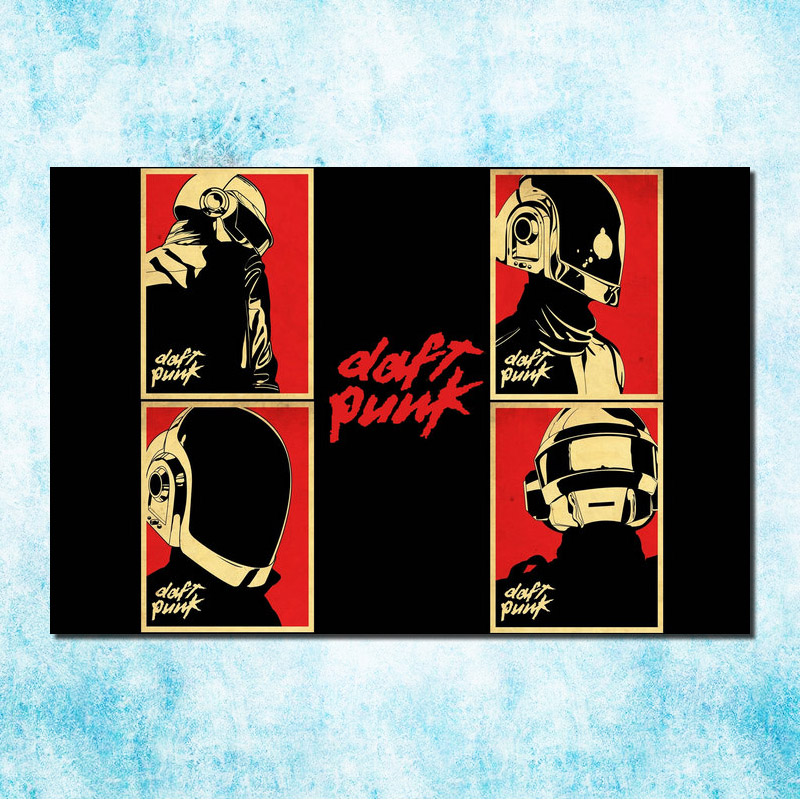 Daft Punk Music Star Silk Canvas Poster Print 13×20 24×36 inches Pictures For Bedroom Decor (more)-003