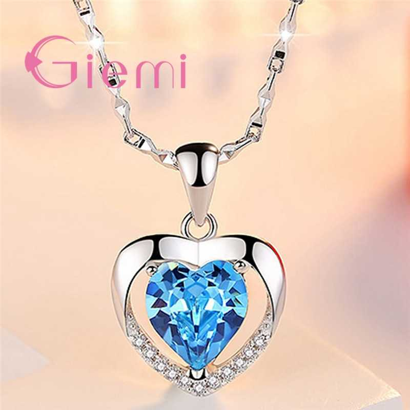 Top Qualität 925 Sterling Silber Anhänger Halskette Für Frauen Mädchen Casual Jahrestag Geburtstag Geschenke Pflastern Blau Kristall Bijoux