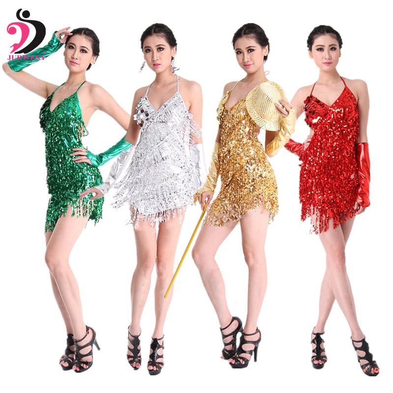Women Summer Lace Latin Sequined Dancing Dress Tassel Sling Shiny Samba Costume