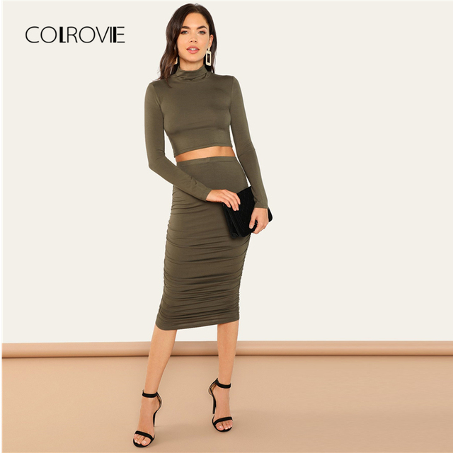 e8771727402 COLROVIE Army Green High Neck Ruched Long Sleeve Elegant Two Piece Sets  Crop Top and Skirt Women Set 2018 Autumn Sexy Suits