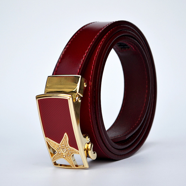 3.5cm  colorful women  fashion genuine leather belt   with sea star ratchet buckle