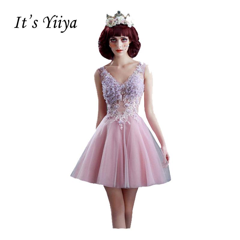 It's Yiiya New Pink Sleeveless V-Neck   Cocktail     Dresses   Lace Up Flower Appliques Vintage Illusion Elegant   Cocktail     Dress   QXN131