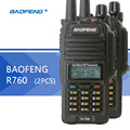 2 pcs baofeng bf-r760 walkie talkie cb rádio portátil à prova d' água display lcd de dupla frequência profissão walkie talkie rádio cb