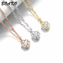BOAKO Cubic Zirconia Snowflake Necklace&Pendants Long Chain Statement Necklace for Women Rhinestone Choker Necklace Jewelry sweet rhinestone elephant necklace jewelry for women