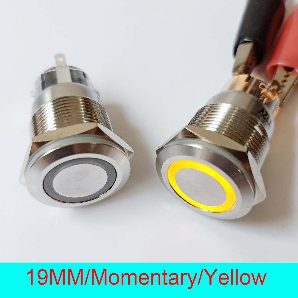 50pcs 19mm Stainless Steel IP67 Waterproof Momentary 24V Ring LED Illuminated Power Metal Push Button Switch