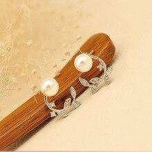cute sweet cloth flower long dangle earrings for women accessories vintage pearl earrings jewelry gift 2019 women s earrings Sweet Earrings Fashion Jewelry Crystal Leaves Simulated Pearl Stud Earrings For Women 2020 Jewelry Accessories Gift
