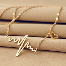 Hot Simple Wave Heart Necklace Chic ECG Heartbeat Gold Colour Pendant Charm Lightning Chocker Necklace for Women Vintage Jewelry