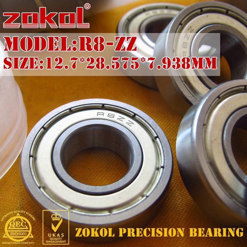 ZOKOL R8ZZ bearing R8 ZZ Miniature R8-ZZ Deep Groove ball bearing 12.7*28.575*7.938mm gcr15 6326 zz or 6326 2rs 130x280x58mm high precision deep groove ball bearings abec 1 p0