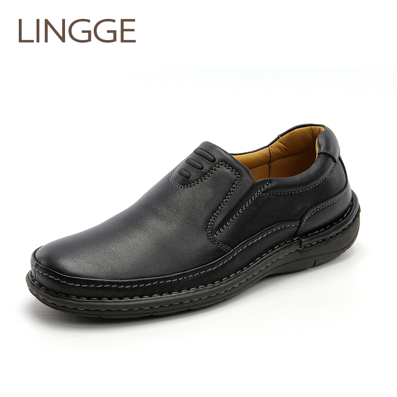 LINGGE Brand Black Mens Shoes Business Genuine Leather Shoes For Men Classical Rubber Sole Shoe Big Size Loafters Casual Shoe