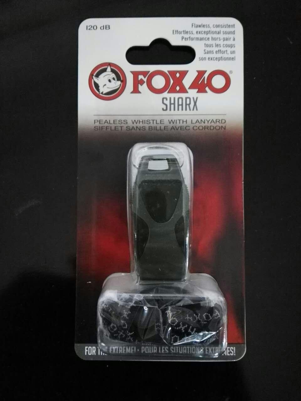 50kpl / erä Värikäs kettu 40 SHARX -pilli, kaulanauha, musta läpipainopakkaus