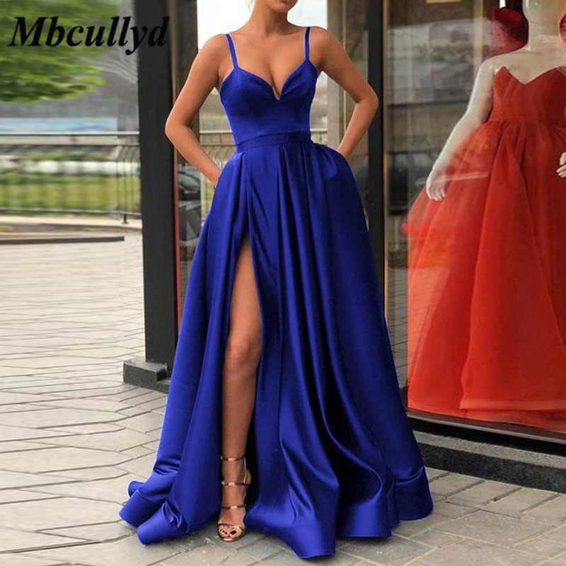 Mbcullyd Satin A-Line Maid of Honor Bridesmaid Dress Charming Royal Blue Prom Dresses Long Leg Slit Wedding Party Gowns Cheap