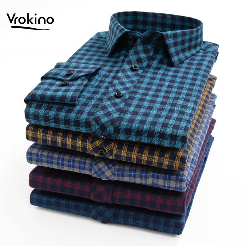 VROKINO Brand Increase Size XXL-10XL 2019 New Men's Flannel Plaid Shirt Business Leisure Fashion Cotton Long Sleeve Shirt Male