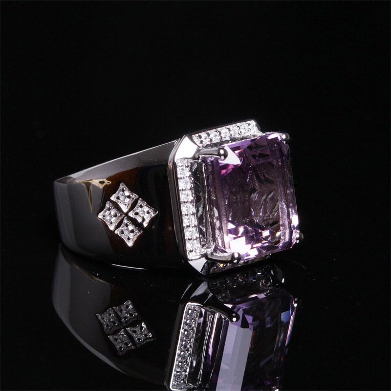 RADHORSE 925 Argent Anneaux pour Homme Beaux Bijoux 100% Naturel 9*11mm Améthyste Réglable Bague En Argent Hommes D'anniversaire présent
