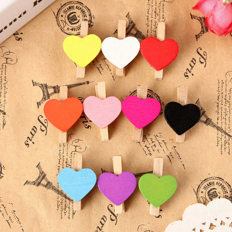 2019 New 10Pcs Mini Hearts Wooden Pegs Photo Clips Craft Wedding Party Decor Decoration Home Decor
