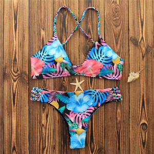 3bc0a38981324 Sexy Women Bikini Set For Summer Swimwear Swimsuit 2018 Flower Bodysuit