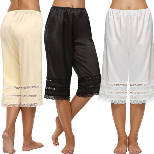 Lady Women Pants Silk Knit Briefs Underwear Pettipants French Knickers Breathable Soft Lace Capris