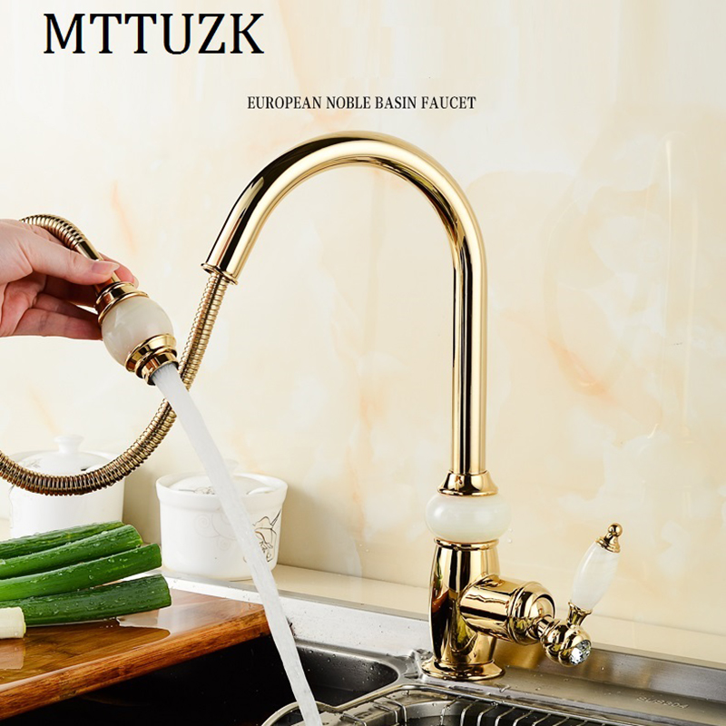 MTTUZK luxury Kitchen pull out faucet gold brass with jade for cold and hot mixer tap Sink faucet Vegetable washing basin faucet