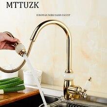 MTTUZK luxus Küche ziehen wasserhahn gold messing mit jade für kalten und warmen mischbatterie Waschbecken wasserhahn Gemüse waschbecken wasserhahn