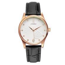 Mujeres correa de cuero relojes de marca sinobi montre femme alta calidad impermeable con diseño simple flor blanca y diamante real