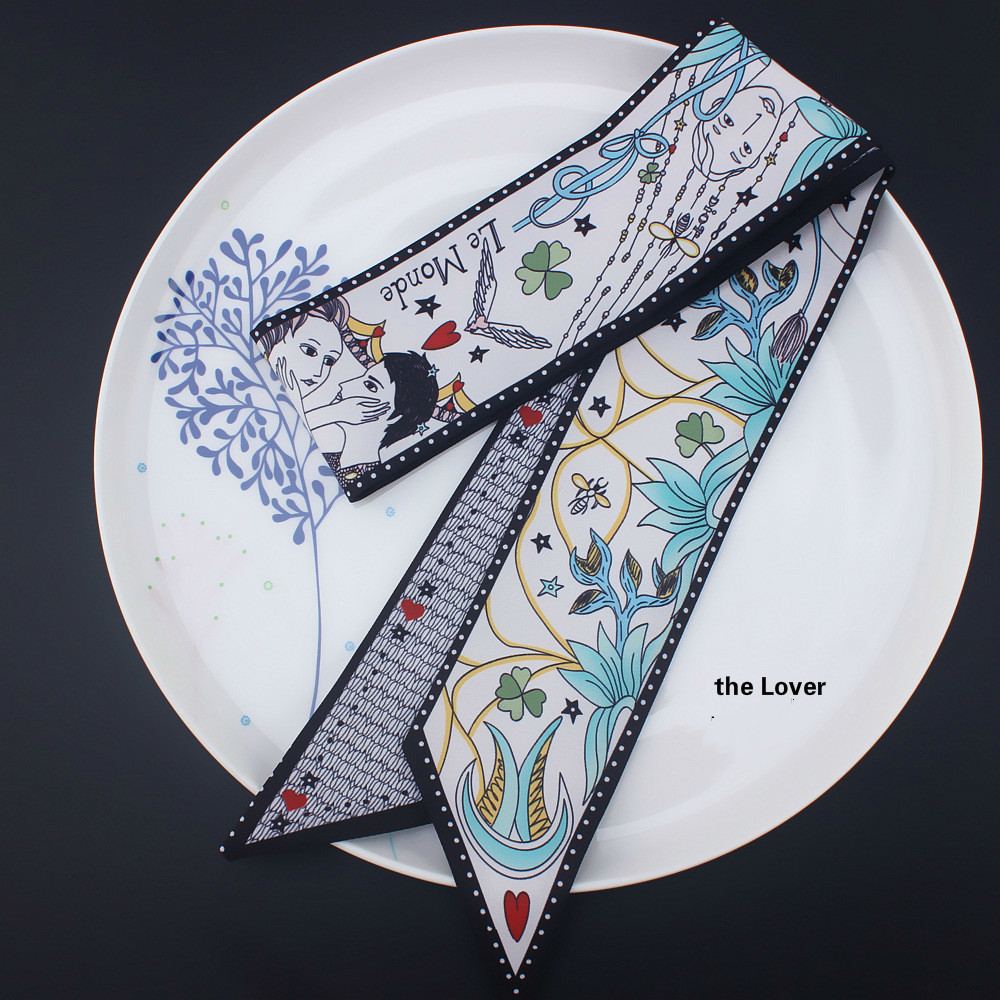 Tarot Series Double-deck Two-sided Printing Twill Small Bind Bag Handle Imitate Silk Scarf Ribbon Hair Band Women Scarves Hijab