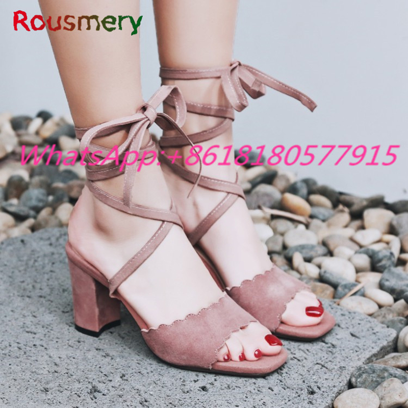 Sweet Square Toe Chunky High Heels Woman Sandals Summer Cross-tied Party Zapatos Mujer Tacon Colorful Ankle Strap Woman Shoes