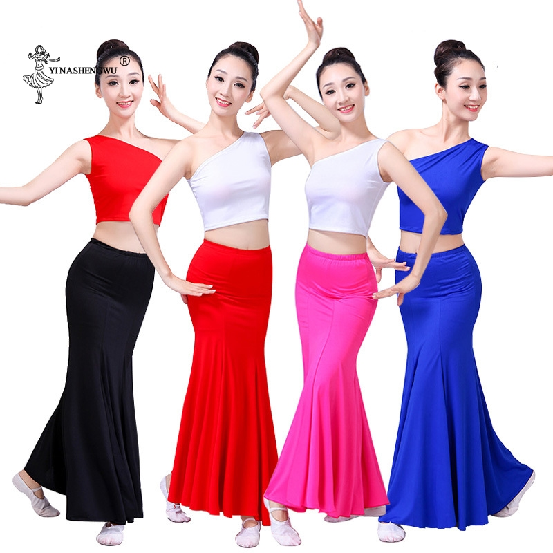 Wowen Belly Dance Costume Adult Female Long Mermaid Peacock Dance Girl Practise 2 - Piece Set Fishtail Skirt National Dancewear