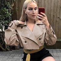2017 Fashion Sexy Women Turn down Collar Button Bomber Short Jacket Design Casual Coat Punk Outwear