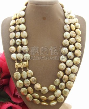 N011613 13mm 3Strands Champagne Coin Pearl Necklace