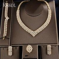 RAKOL Luxury Gold color Leaf Bridal CZ necklace earring bracelet ring 4pcs Big Wedding Jewelry Sets For Elegant Bride