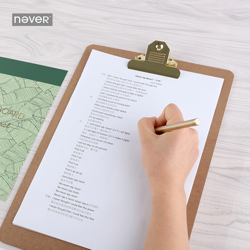 NEVER Plants series legal pad clip Board memo pad clipboard Folder hard board Writing plate clip office accessories Stationery