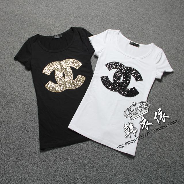 2016 verão 100% algodão t camisa plus size feminina t-shirt paillette-top de manga curta