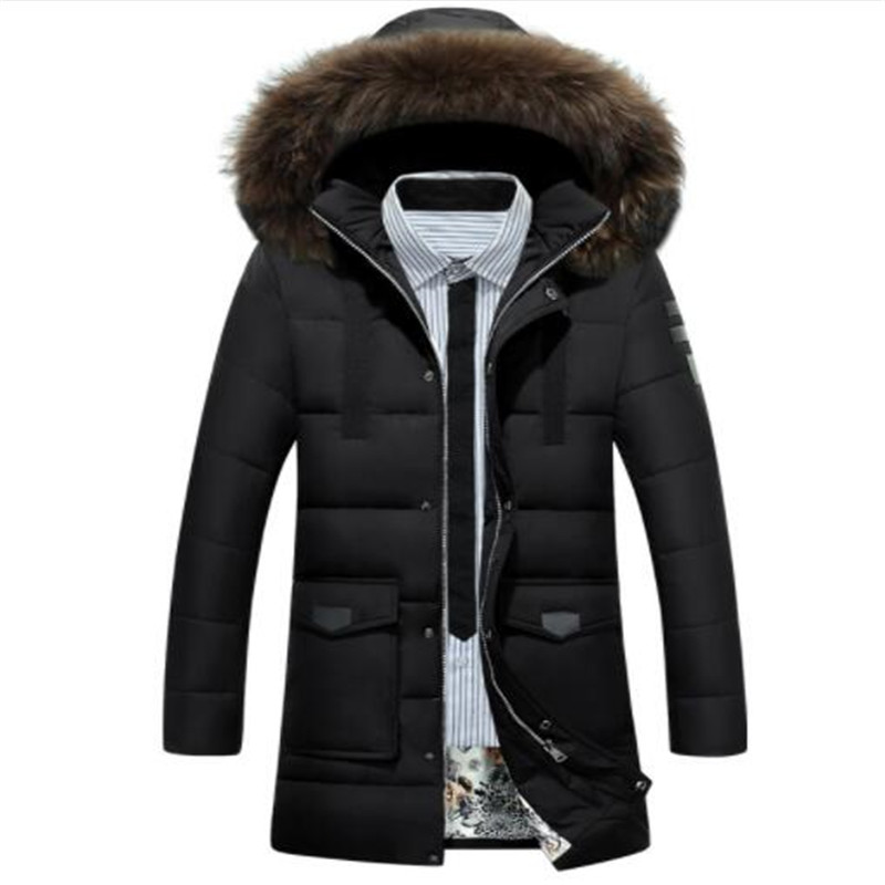 2018 New   Down   Parka Men Winter Jacket Men's High Quality Hooded   Down     Coat   Thick Long   Coat   for Male Fur Collar Plus Size 3XL