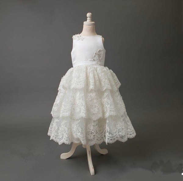 ivory lace flower girl dresses for wedding frocks beautiful ankle length tiered ball gowns first communion dress any size new white ivory nice spaghetti straps sequined knee length a line flower girl dress beautiful square collar birthday party gowns